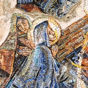 Salita al Calvario, 1998, mosaico, Nevegal (BL), Santuario Maria Immacolata.